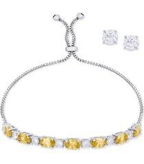 simulated citrine slider bracelet & cubic zirconia stud earrings set in fine silver-plate, november birthstone