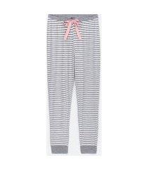 calça de pijama estampa listras e poá | lov | cinza | gg