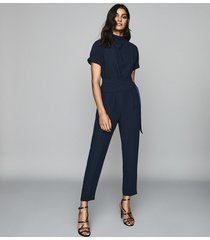 reiss silva - short sleeved jumpsuit in navy, womens, size 10