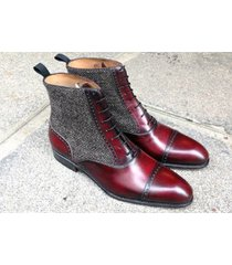 handmade cap toe boots ankle burgundy leather tweed formal casual dress boots