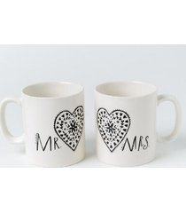 matching mr. and mrs. mug set - white