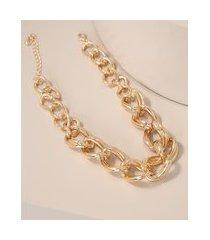 colar feminino curto de corrente grossa dourado