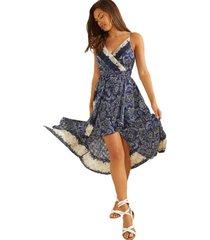 vestido sl bali print flor dress azul guess