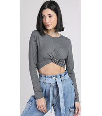 blusa feminina cropped canelada com nó manga longa decote redondo cinza mescla escuro