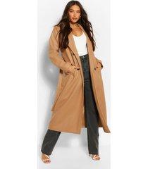 tall lange nepwollen jas met dubbele knopen, kameel