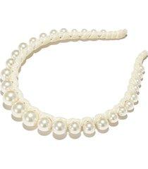 graduated pearl velvet strand headband