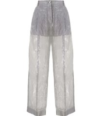 emporio armani crinkle-effect pinstriped trousers - grey