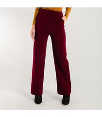 pantalon para mujer en poliester poliester rojo color vino tinto talla14