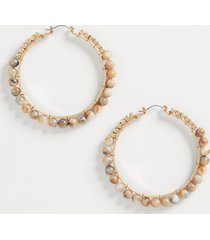 maurices womens brown beaded hoop earrings