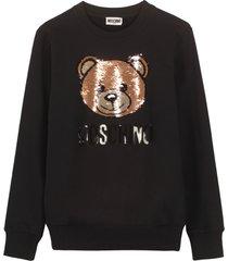moschino cotton crew-neck sweatshirt