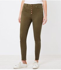 loft the curvy high waist button front skinny jean in vintage olive