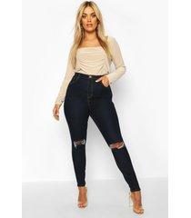 plus versleten skinny jeans met hoge taille, donkerblauw