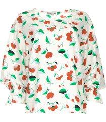 blouse met bloemenprint tiesto  wit