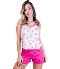 pijama mvb modas curto blusinha alça short liso feminino