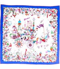 hermes la folle parade bleu royal silk scarf blue/multicolor sz: