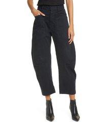 women's nili lotan shon stretch cotton pants, size 6 - brown