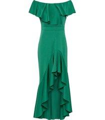 abito asimmetrico con volant (verde) - bodyflirt boutique