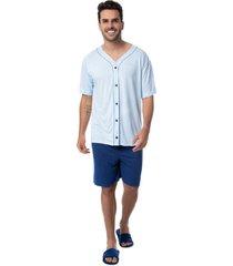 pijama masculino com botão camiseta curta e bermuda