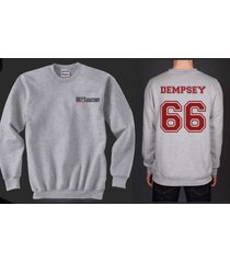 dempsey 66 grey's anatomy unisex crewneck sweatshirt heather greys anatomy