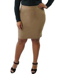 plus size women's maree pour toi metallic faux suede pencil skirt
