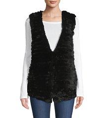 quilted rabbit fur vest