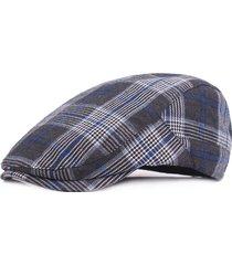 unisex casual berretto in cotone a plaid respirabile con visiera protettiva da sole con bottoni regolabili