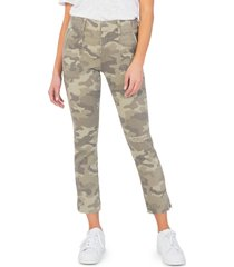 women's kut from the kloth reese camo ankle slim straight leg pants, size 12 - green