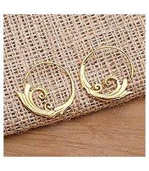gold plated half-hoop earrings, 'keramas surf' (indonesia)