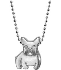 """alex woo diamond accent french bulldog 16"""" pendant necklace in sterling silver"""