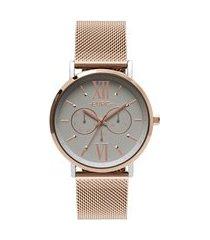relógio feminino euro multifunção - eu6p29ahabp5t rosê