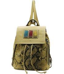 mochila de cuero amarilla leblu
