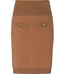 balmain stretch-knit mini skirt - brown