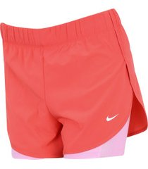 shorts nike flex 2in1 woven - feminino - coral