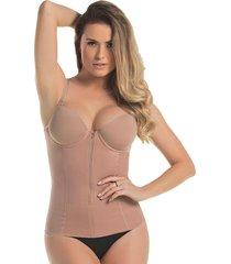 cinta mondress lingerie modeladora blusa com bojo, zíper e barbatanas  bege