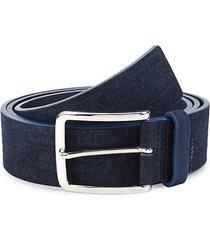 albert logo leather & suede belt