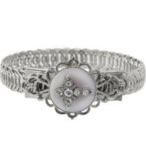 pewter crystal cross with mother of pearl belt bracelet