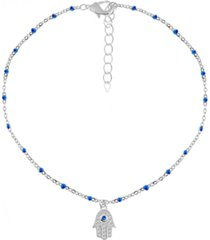 blue sapphire & cubic zirconia hamsa hand anklet in fine silver plate