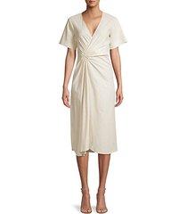 ruched linen-blend faux wrap dress