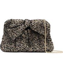 loeffler randall rayne leopard-print pleated clutch - black