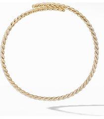 women's david yurman pave flexible 18k gold necklace with diamonds