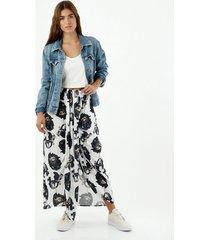 falda de mujer, silueta amplia de diseño largo con estampado floral y abertura