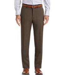 haggar premium comfort brown 4-way stretch slim fit dress pants