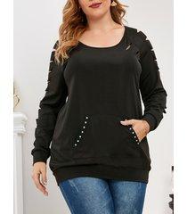 plus size raglan sleeve distressed kangaroo pocket sweatshirt