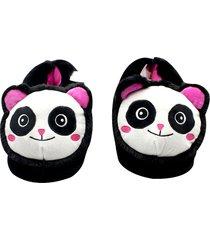 pantufa panda zona criativa preta