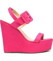 hattie leather wedge sandal - 10.5 hot pink nubuck leather