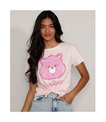 camiseta cropped de algodão ursinhos carinhosos com nó manga curta decote redondo rosa claro