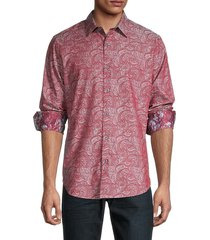robert graham men's ruleville slim-fit paisley shirt - pink multi - size s