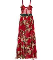 patbo floral bustier belted maxi dress - red