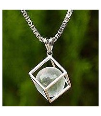 quartz pendant necklace, 'translucent raindrop' (thailand)