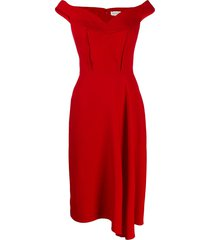 alexander mcqueen off-shoulder crepe dress - red